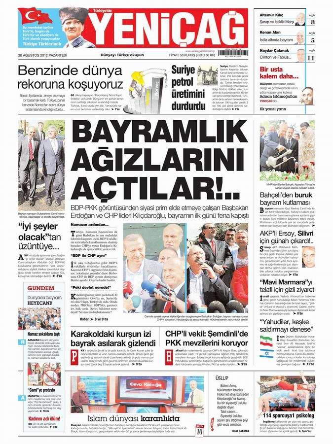 Gazete Manşetleri - 20 Ağustos Pazartesi 6
