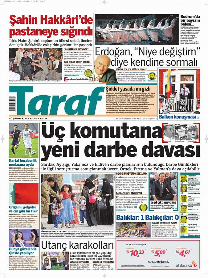 Gazete Manşetleri - 20 Ağustos Pazartesi 7