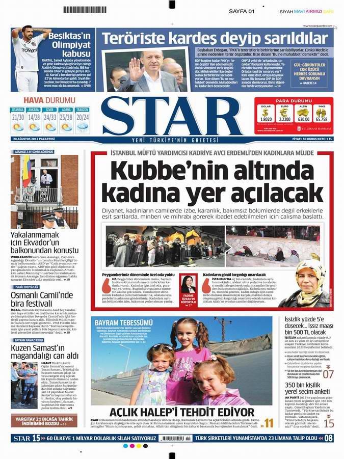 Gazete Manşetleri - 20 Ağustos Pazartesi 8