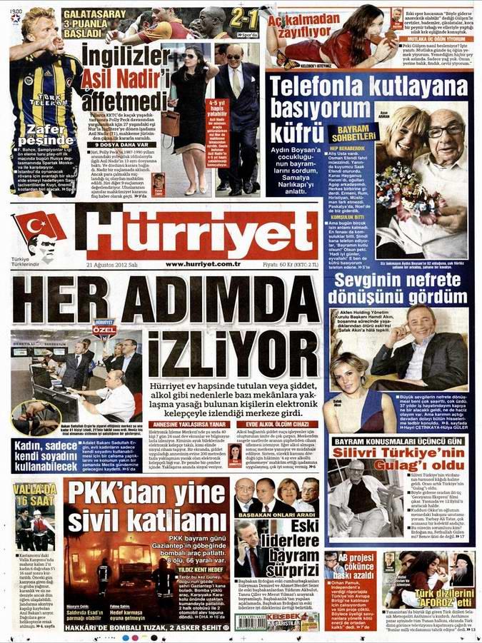 Gazete Manşetleri - 21 Ağustos Salı 12