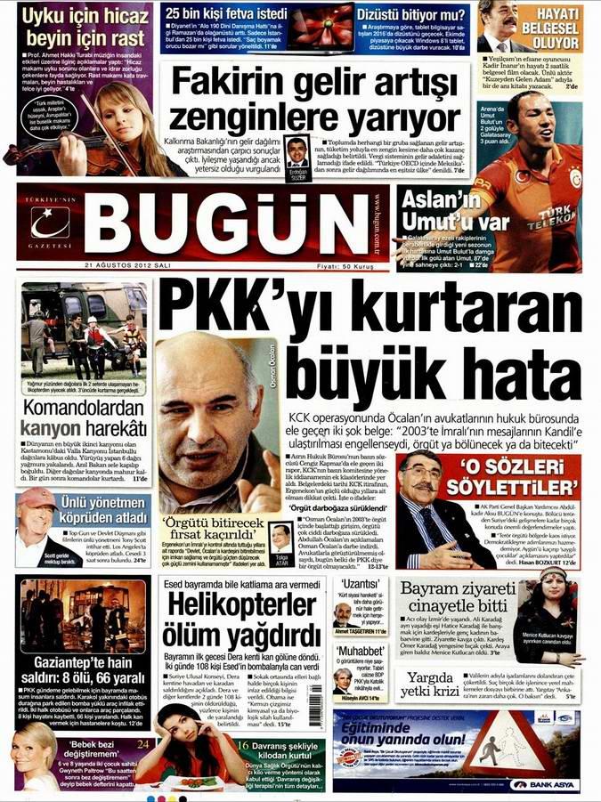 Gazete Manşetleri - 21 Ağustos Salı 15