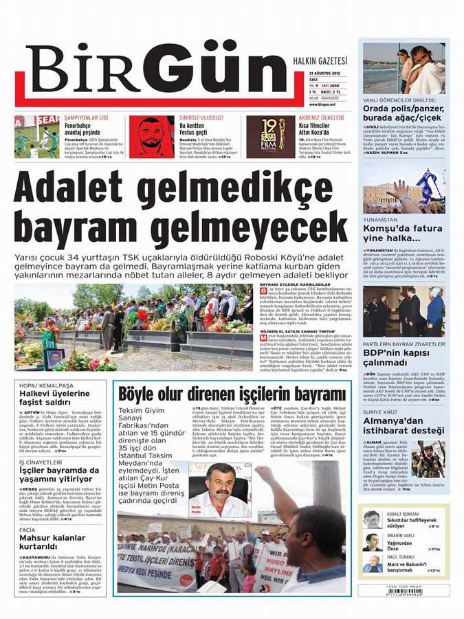 Gazete Manşetleri - 21 Ağustos Salı 16