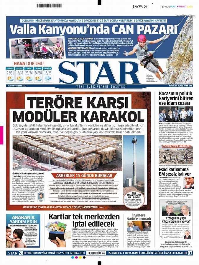 Gazete Manşetleri - 21 Ağustos Salı 6
