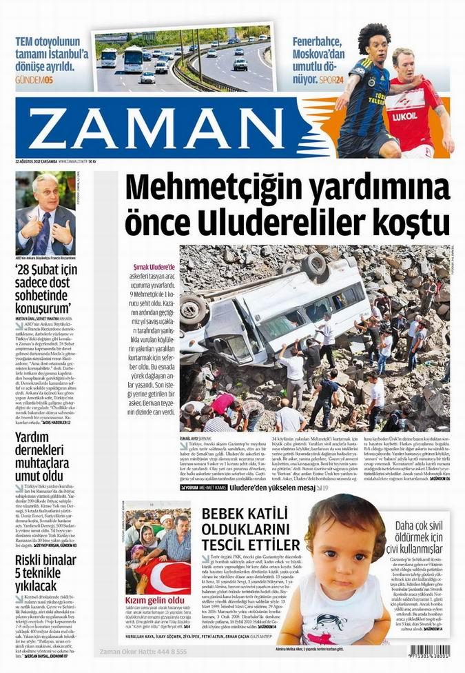 Gazete Manşetleri - 22 Ağustos Çarşamba 1