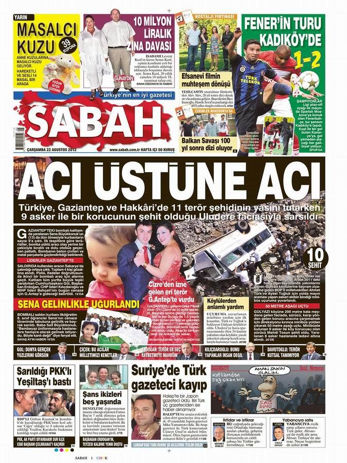 Gazete Manşetleri - 22 Ağustos Çarşamba 11