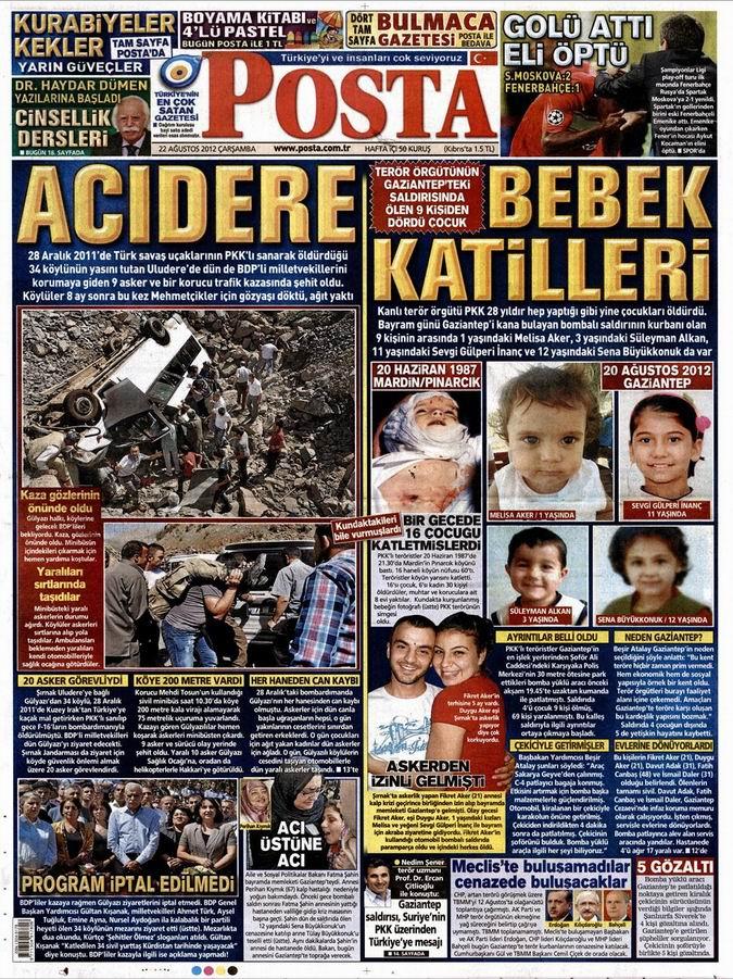 Gazete Manşetleri - 22 Ağustos Çarşamba 12