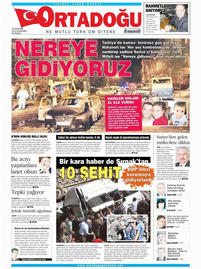 Gazete Manşetleri - 22 Ağustos Çarşamba 13