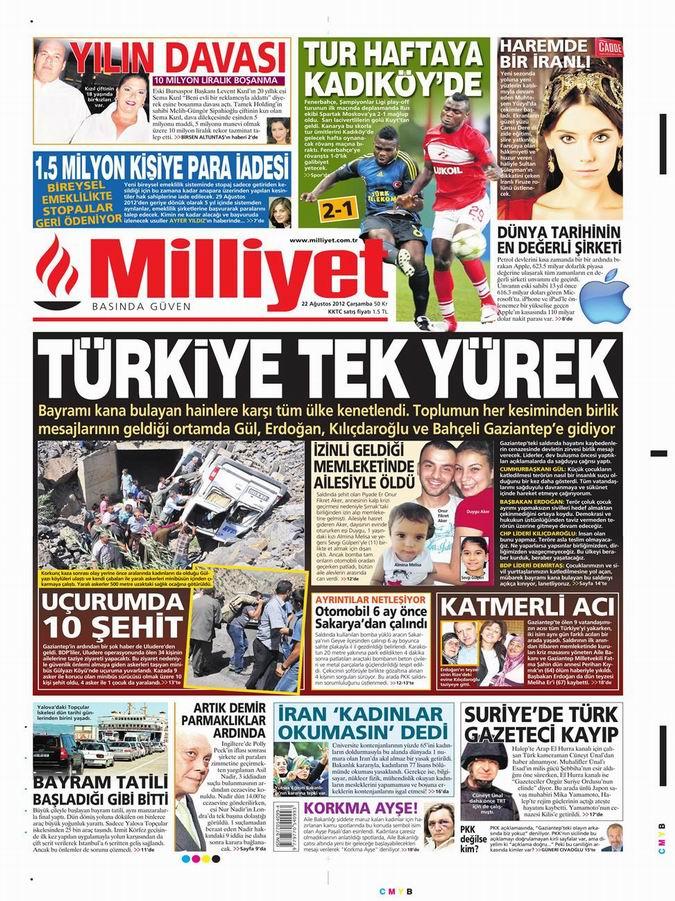 Gazete Manşetleri - 22 Ağustos Çarşamba 14