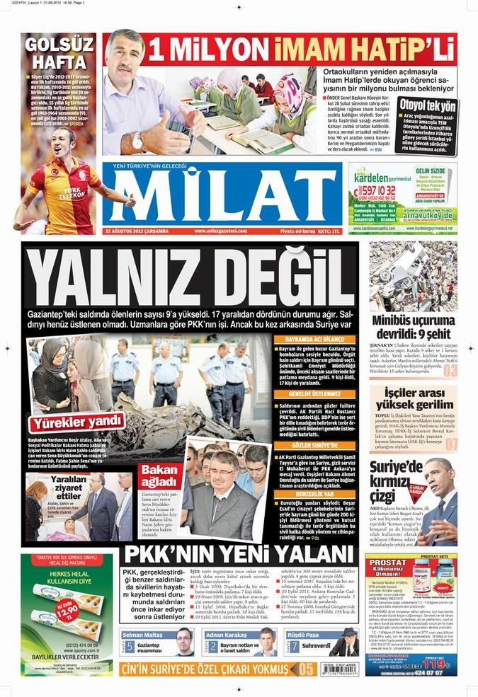 Gazete Manşetleri - 22 Ağustos Çarşamba 15