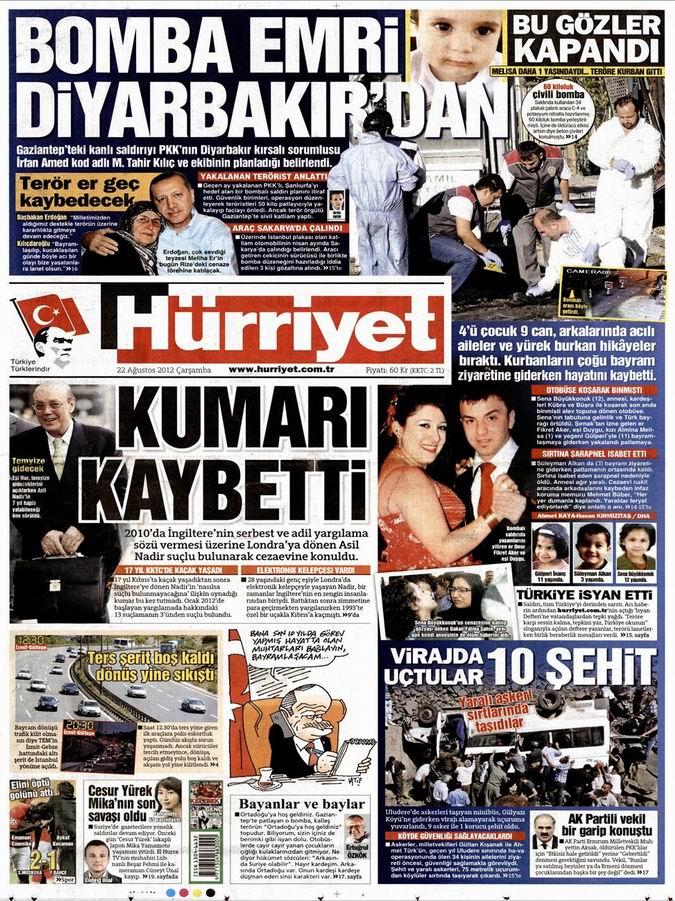 Gazete Manşetleri - 22 Ağustos Çarşamba 16