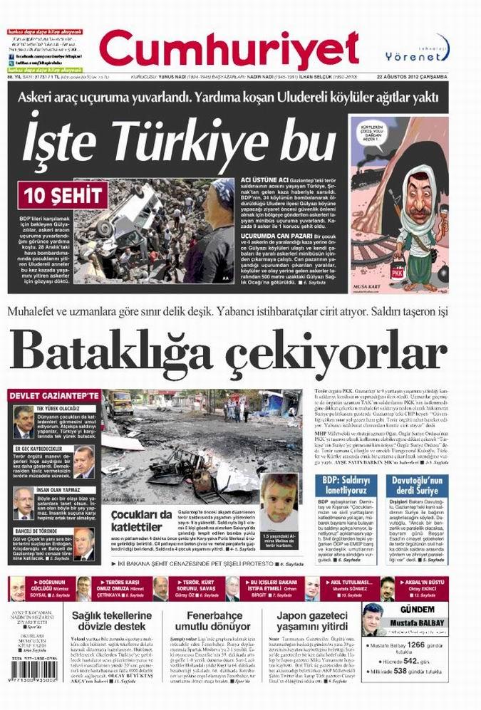 Gazete Manşetleri - 22 Ağustos Çarşamba 19
