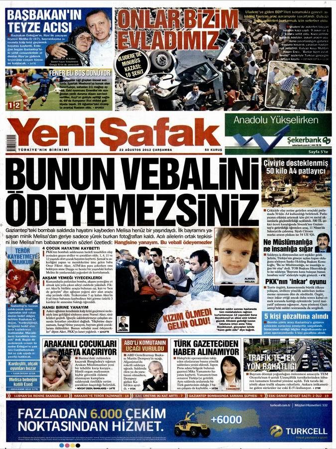 Gazete Manşetleri - 22 Ağustos Çarşamba 2