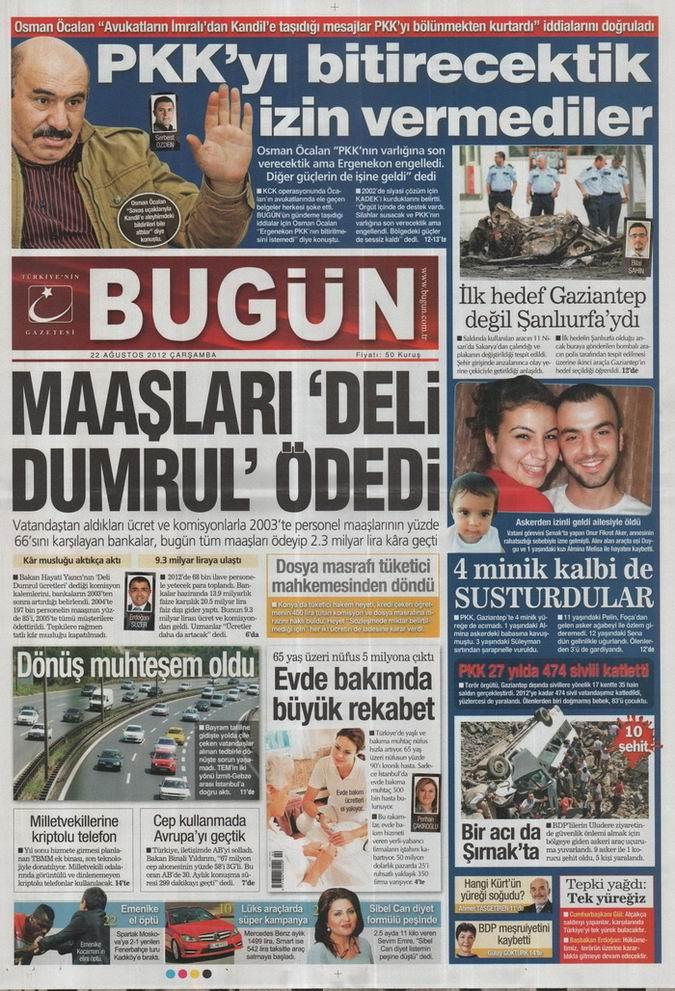 Gazete Manşetleri - 22 Ağustos Çarşamba 20