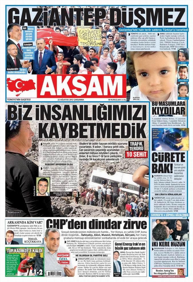 Gazete Manşetleri - 22 Ağustos Çarşamba 22