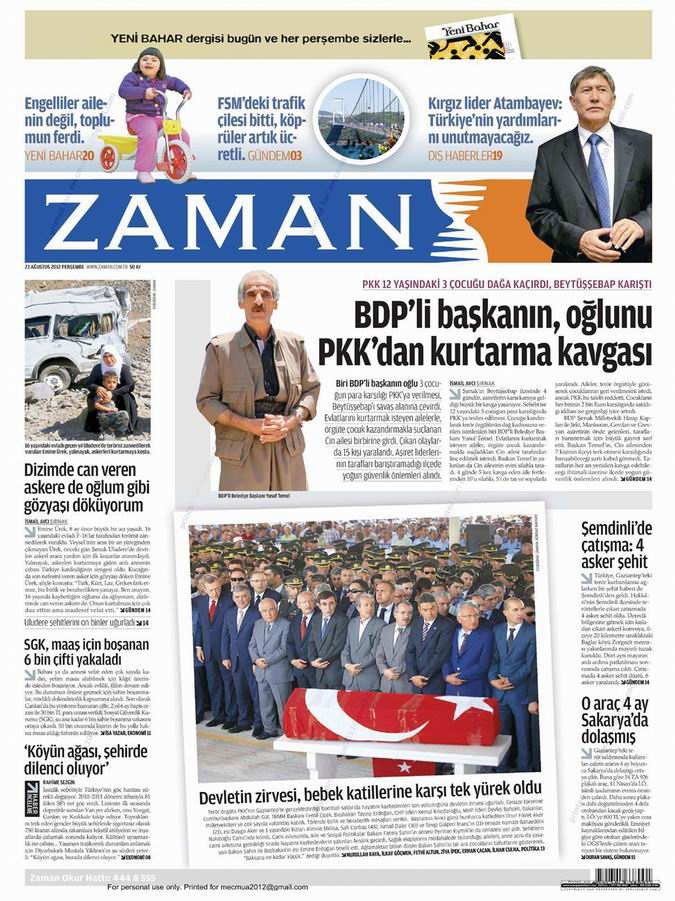 Gazete Manşetleri - 23 Ağustos Perşembe 1