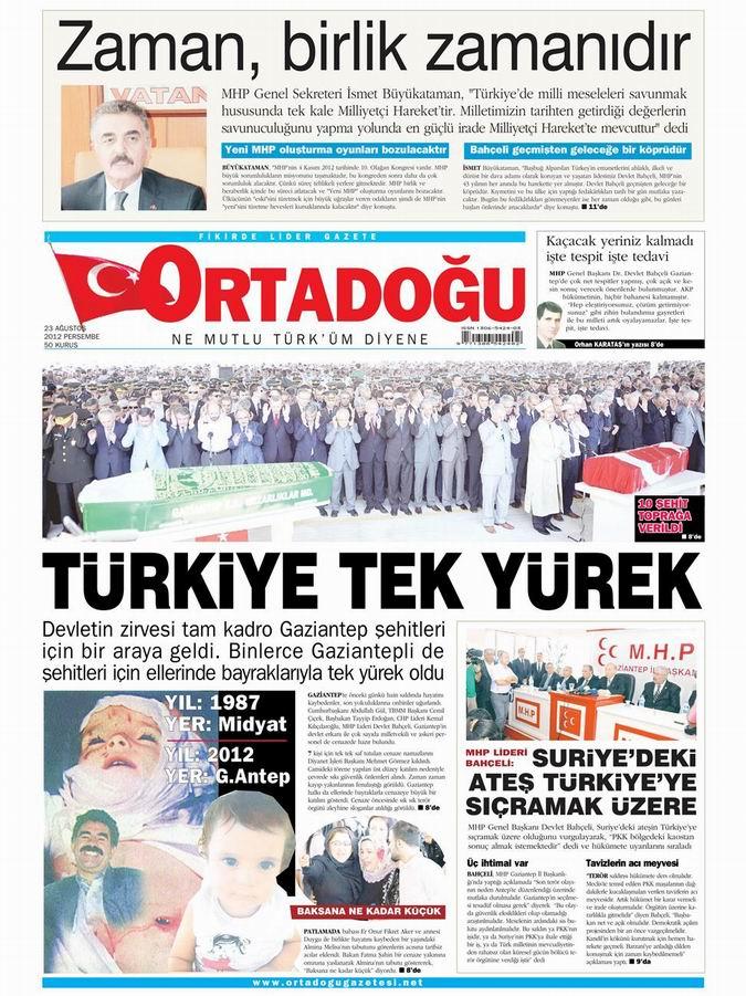 Gazete Manşetleri - 23 Ağustos Perşembe 13