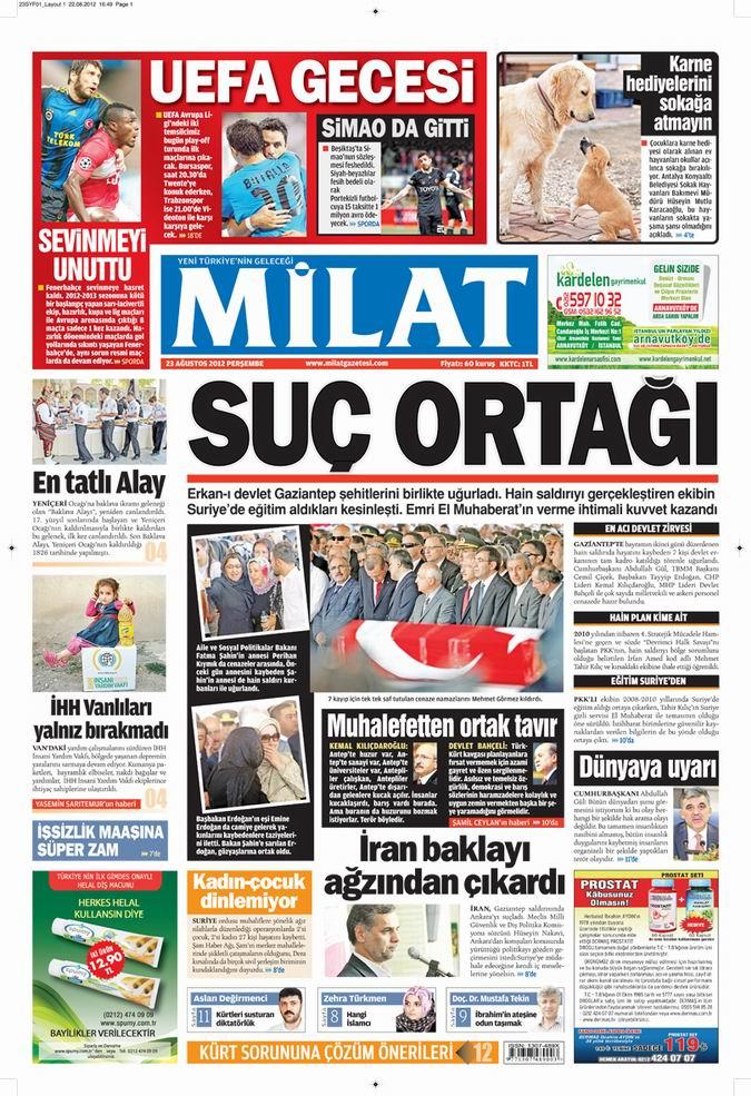 Gazete Manşetleri - 23 Ağustos Perşembe 15
