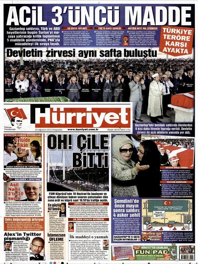 Gazete Manşetleri - 23 Ağustos Perşembe 16