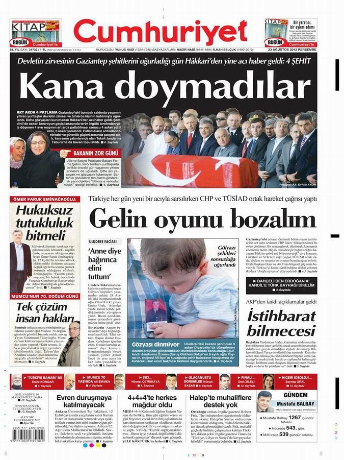 Gazete Manşetleri - 23 Ağustos Perşembe 19