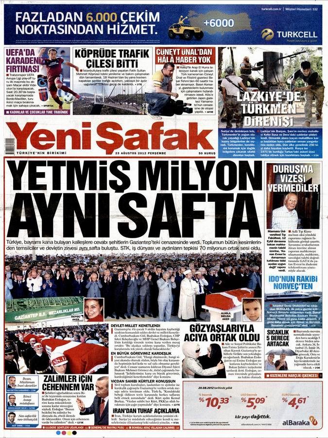 Gazete Manşetleri - 23 Ağustos Perşembe 2