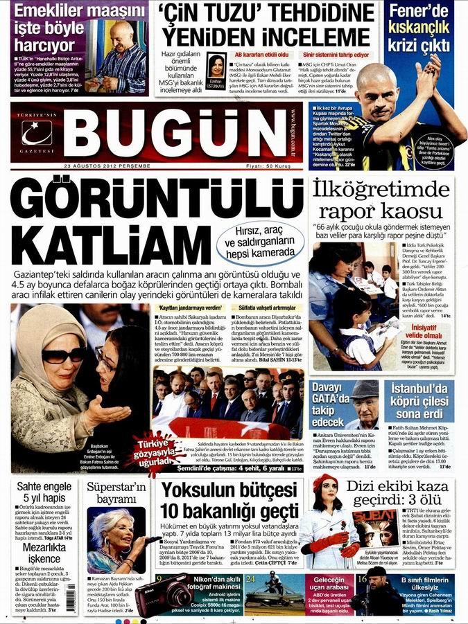 Gazete Manşetleri - 23 Ağustos Perşembe 20