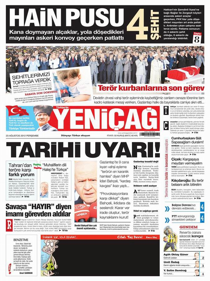 Gazete Manşetleri - 23 Ağustos Perşembe 6