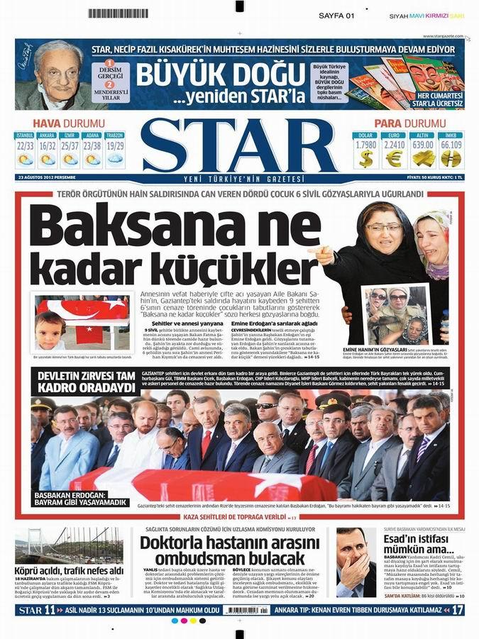 Gazete Manşetleri - 23 Ağustos Perşembe 8