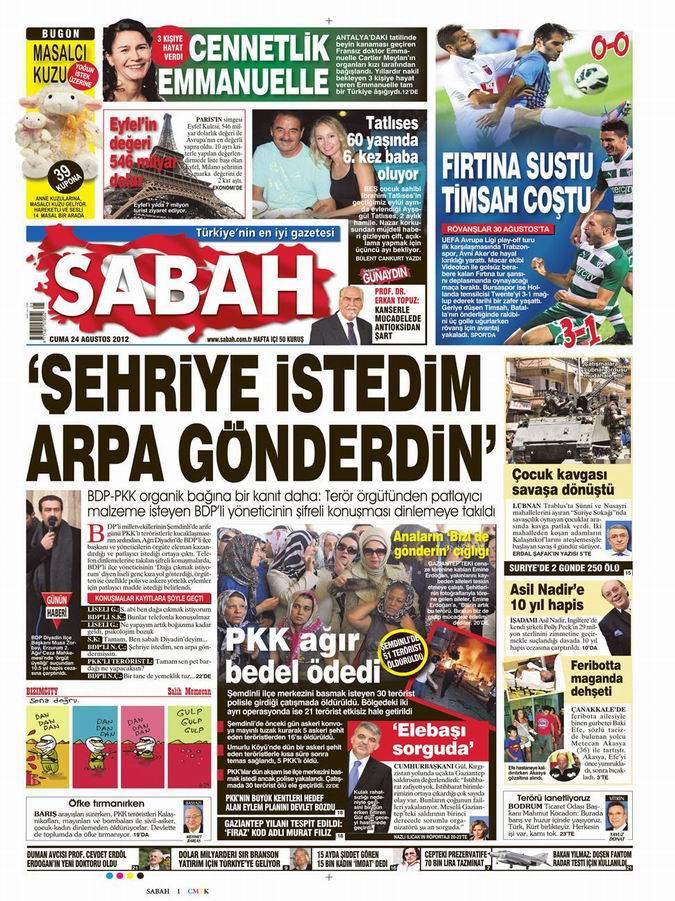 Gazete Manşetleri - 24 Ağustos Cuma 11