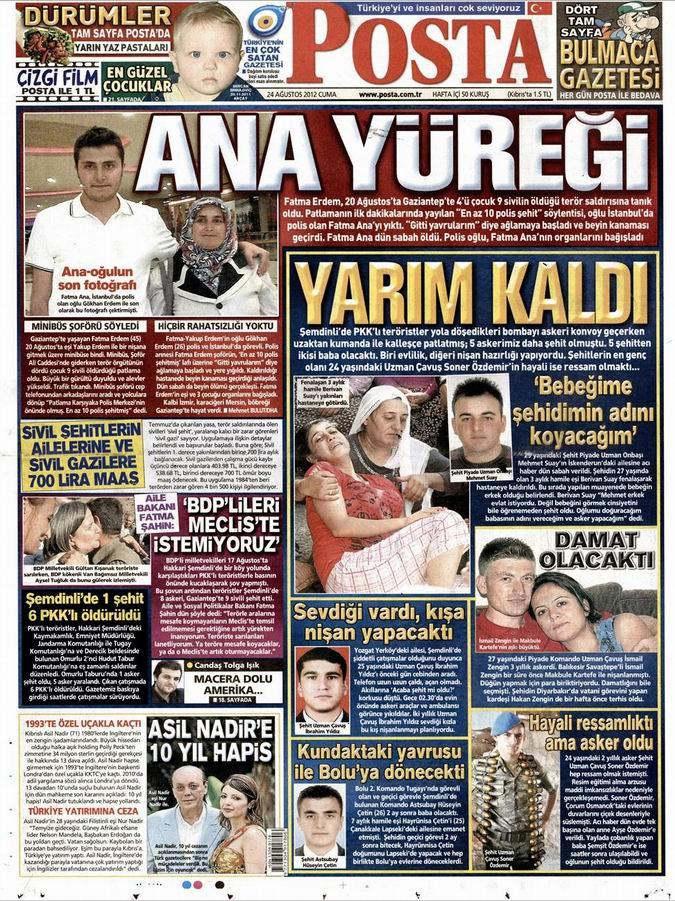 Gazete Manşetleri - 24 Ağustos Cuma 13