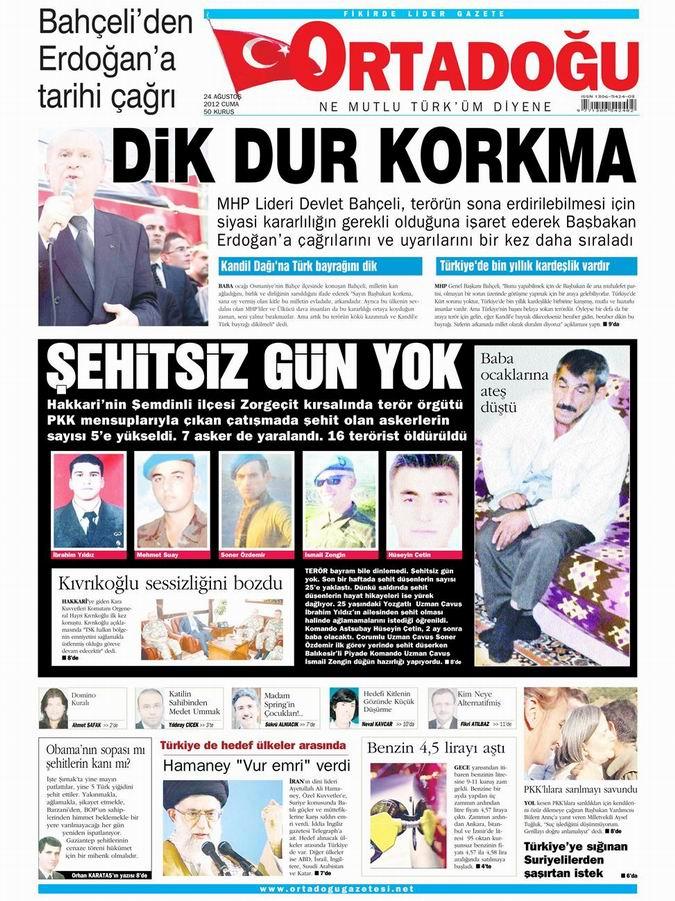 Gazete Manşetleri - 24 Ağustos Cuma 14