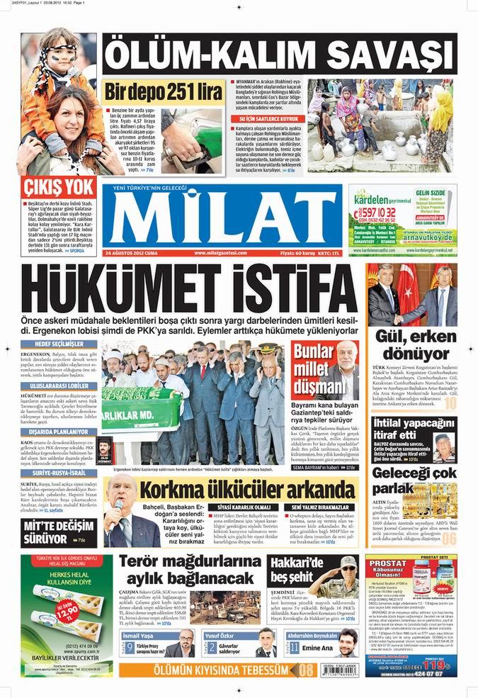 Gazete Manşetleri - 24 Ağustos Cuma 16