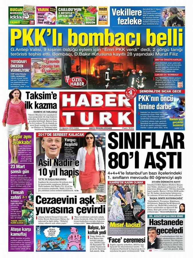 Gazete Manşetleri - 24 Ağustos Cuma 18