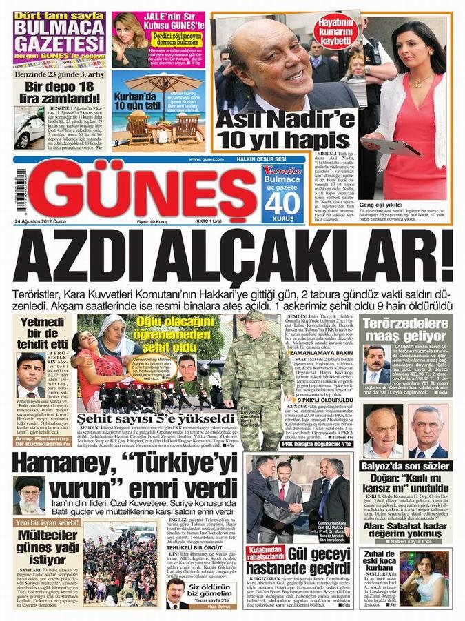 Gazete Manşetleri - 24 Ağustos Cuma 19
