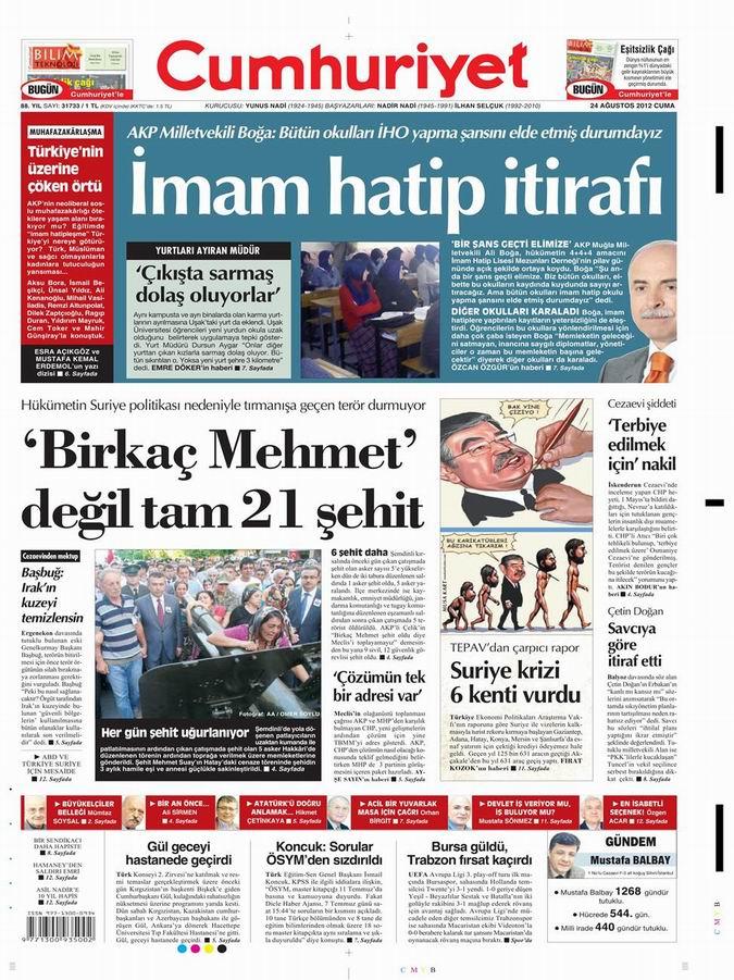 Gazete Manşetleri - 24 Ağustos Cuma 20