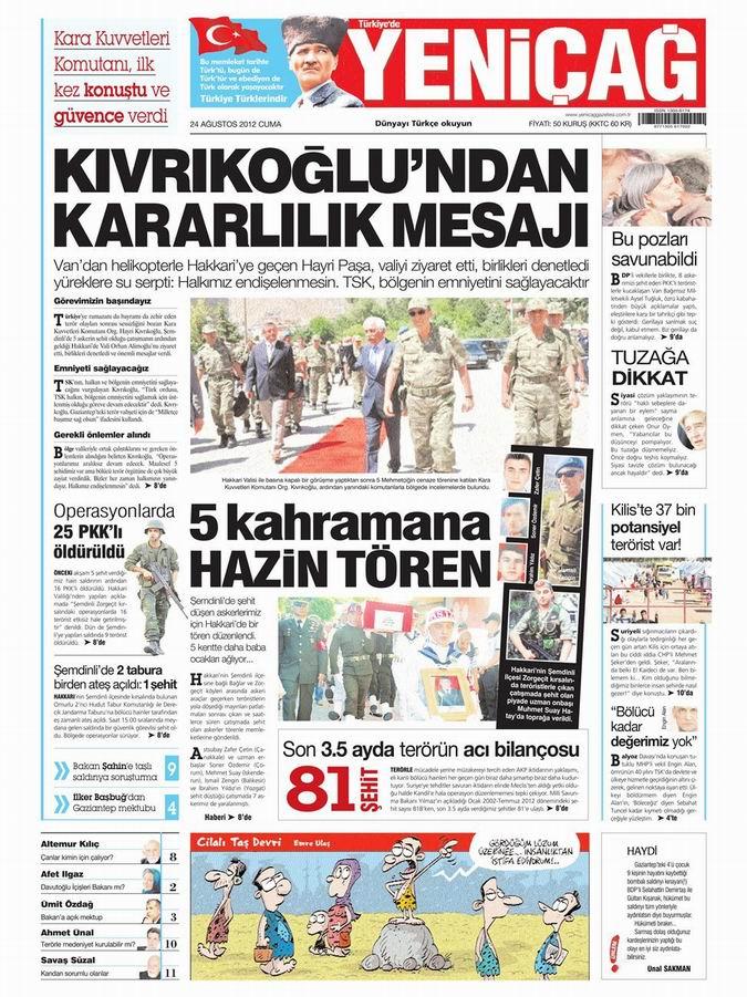 Gazete Manşetleri - 24 Ağustos Cuma 7