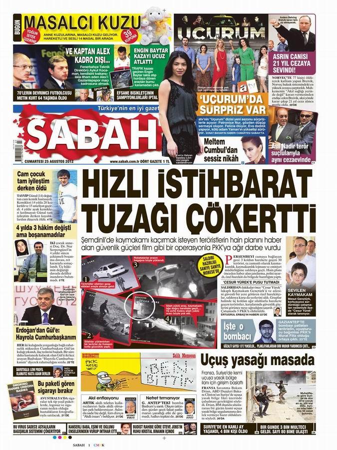 Gazete Manşetleri - 25 Ağustos Cumartesi 12