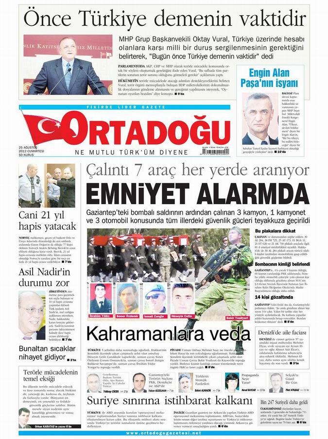 Gazete Manşetleri - 25 Ağustos Cumartesi 14