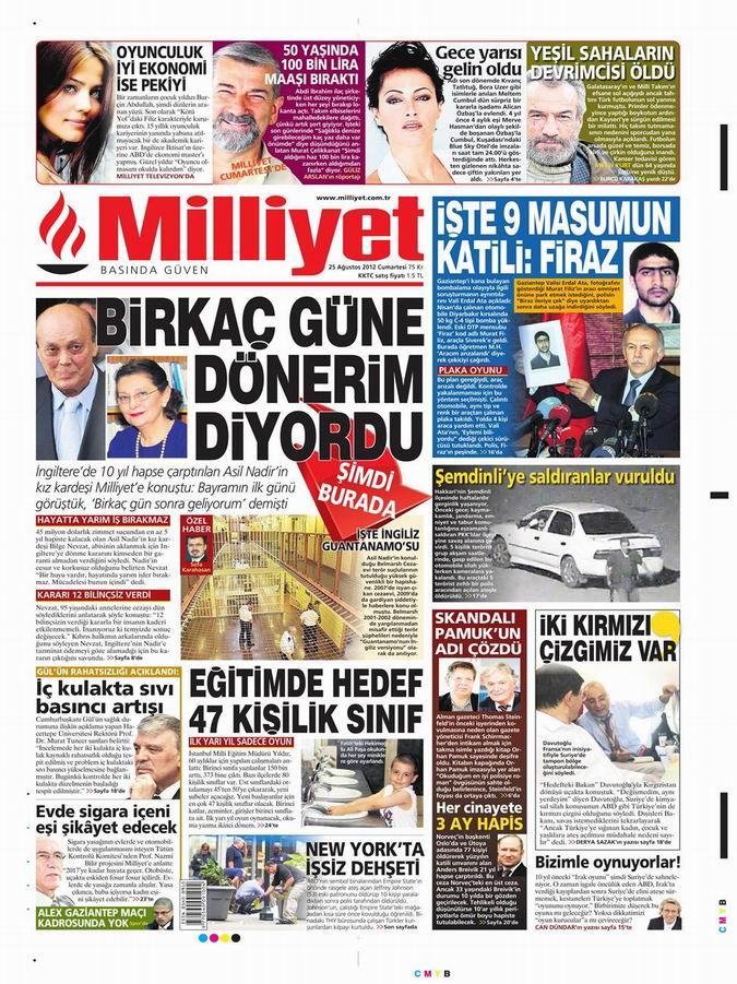 Gazete Manşetleri - 25 Ağustos Cumartesi 15