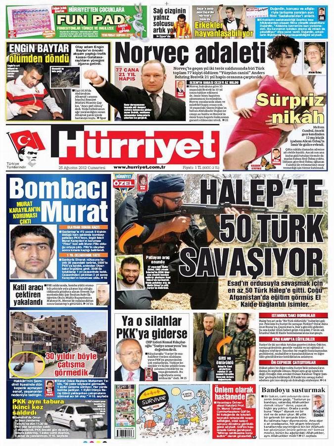 Gazete Manşetleri - 25 Ağustos Cumartesi 16