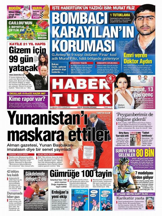 Gazete Manşetleri - 25 Ağustos Cumartesi 17