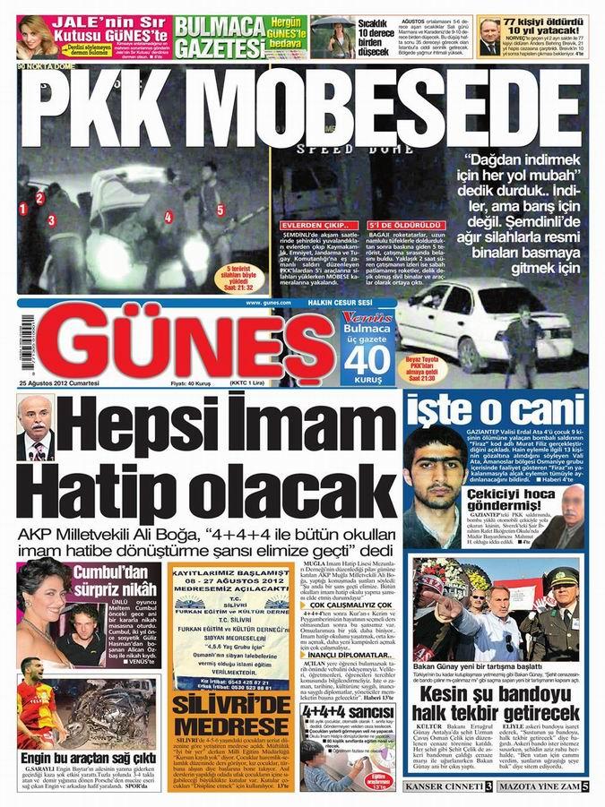Gazete Manşetleri - 25 Ağustos Cumartesi 18