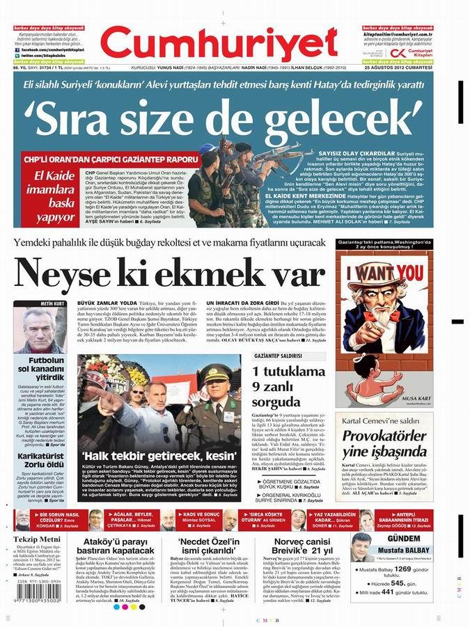 Gazete Manşetleri - 25 Ağustos Cumartesi 19