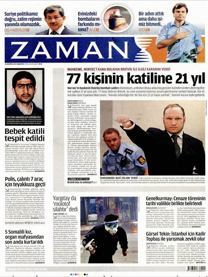 Gazete Manşetleri - 25 Ağustos Cumartesi 2