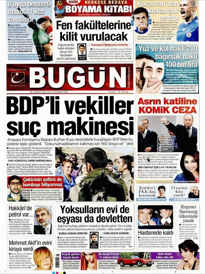 Gazete Manşetleri - 25 Ağustos Cumartesi 20