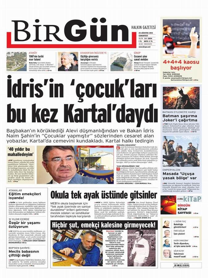 Gazete Manşetleri - 25 Ağustos Cumartesi 21