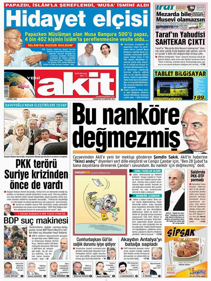 Gazete Manşetleri - 25 Ağustos Cumartesi 5