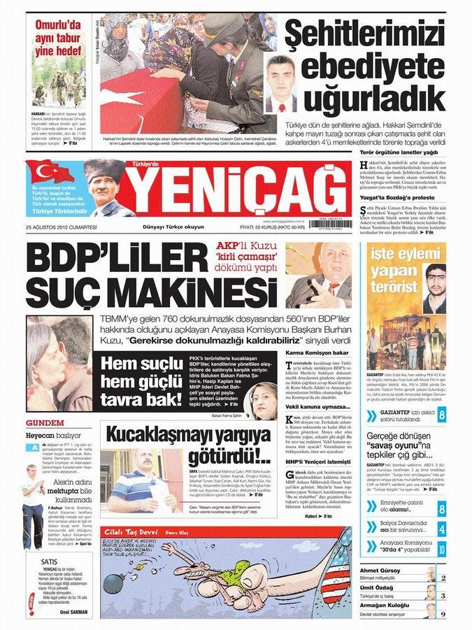 Gazete Manşetleri - 25 Ağustos Cumartesi 8