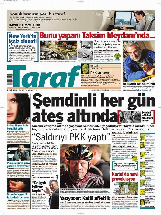Gazete Manşetleri - 25 Ağustos Cumartesi 9