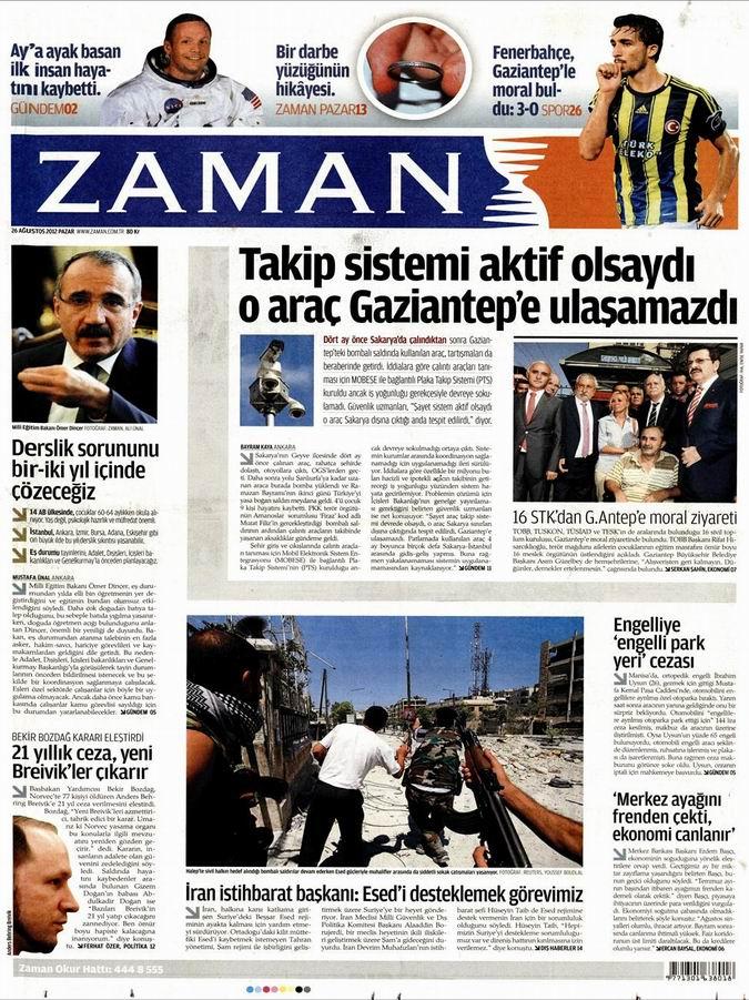 Gazete Manşetleri - 26 Ağustos Pazar 1