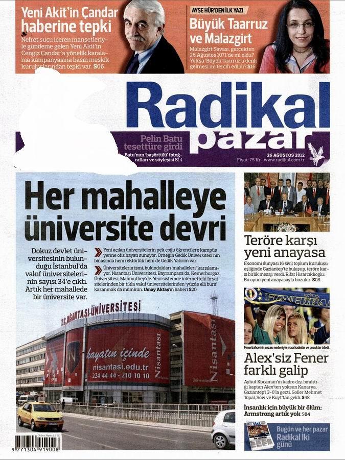 Gazete Manşetleri - 26 Ağustos Pazar 12